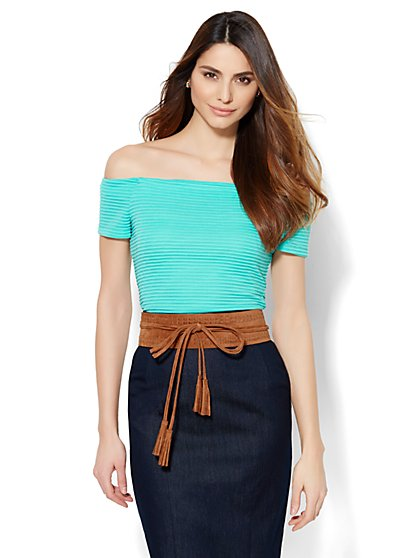 Off-The-Shoulder Ribbed-Knit Top - Solid  - New York & Company