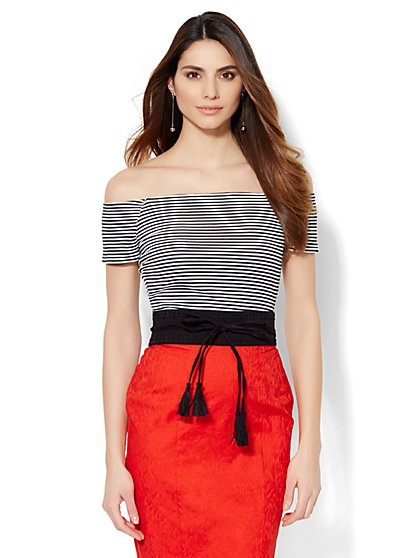 Off-The-Shoulder Ribbed-Knit Top - Stripe  - New York & Company