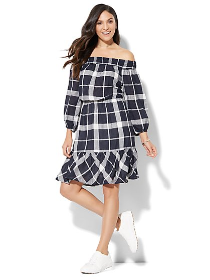 Off-The-Shoulder Ruffle-Hem Dress - Plaid - New York & Company