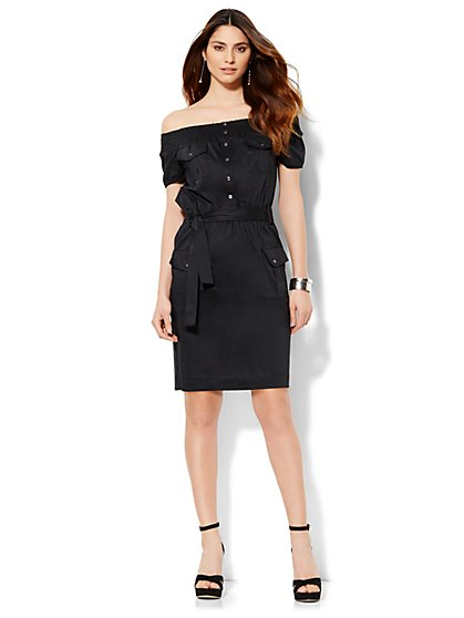 Off-The-Shoulder Shirtdress  - New York & Company