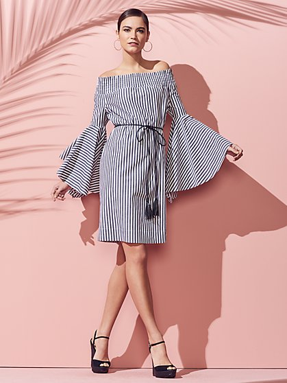 Off-The-Shoulder Smocked Dress - New York & Company