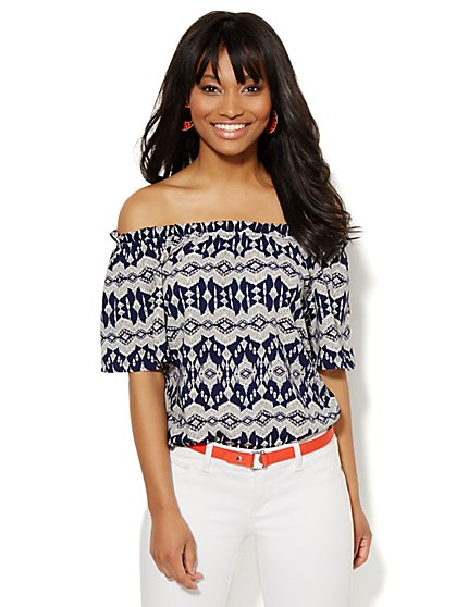 Off-The-Shoulder Top - Tribal Print  - New York & Company