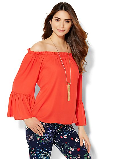 Off-the-Shoulder Bell-Sleeve Blouse  - New York & Company