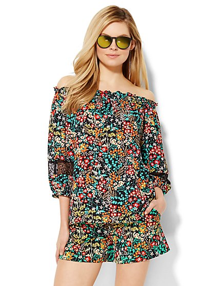 Off-the-Shoulder Blouse - Floral - Petite  - New York & Company