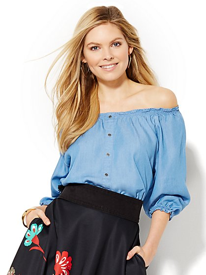 Off-the-Shoulder Blouse - Super-Soft Chambray - New York & Company