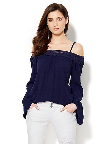 Off-the-Shoulder Embroidered Gauze Shirt - New York & Company
