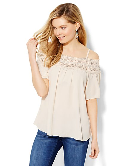 Off-the-Shoulder Lace-Trim Blouse  - New York & Company
