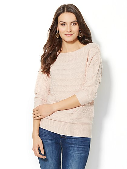 Off-the-Shoulder Lurex Sweater  - New York & Company
