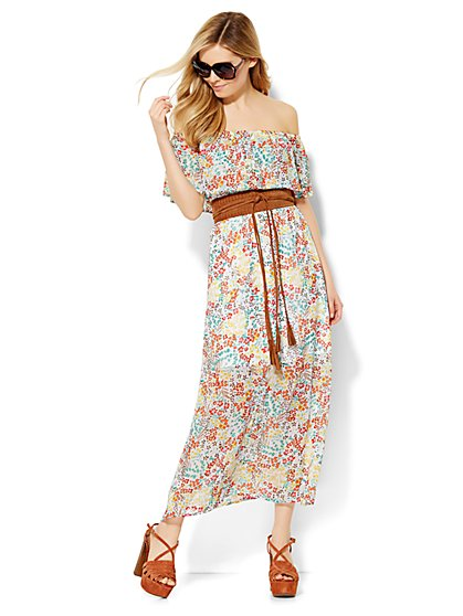 Off-the-Shoulder Maxi Dress - Floral  - New York & Company