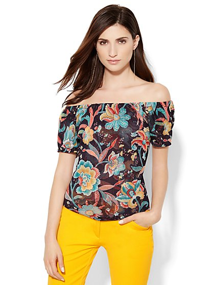 Off-the-Shoulder Mesh Top - Floral  - New York & Company