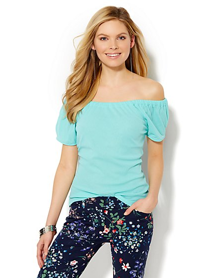 Off-the-Shoulder Mesh Top  - New York & Company