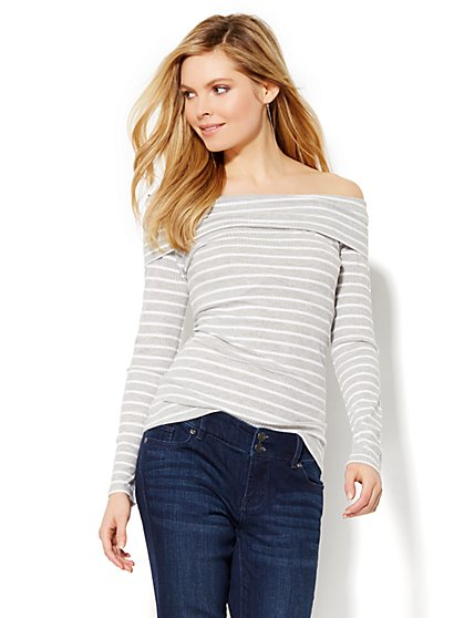 Off-the-Shoulder Ribbed Top - Stripe  - New York & Company