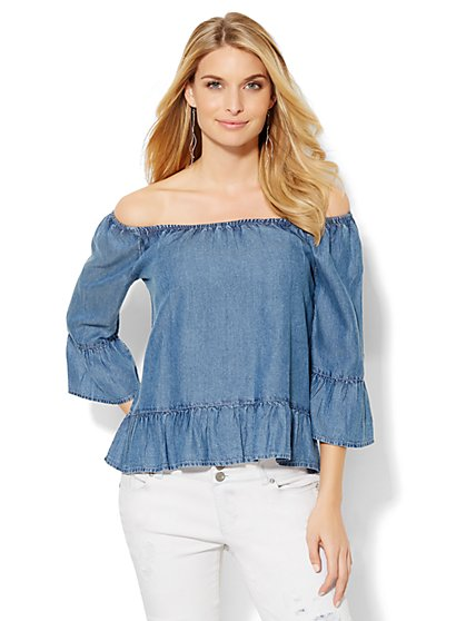 Off-the-Shoulder Ruffle Blouse - Super-Soft Chambray - New York & Company