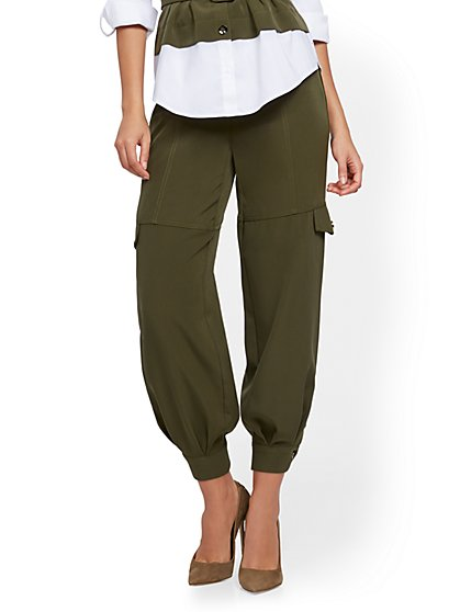 Olive Button-Accent Cargo Pant - 7th Avenue - New York & Company