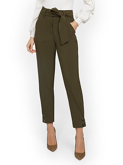 Olive Button-Accent Slim Ankle Pant - 7th Avenue - New York & Company