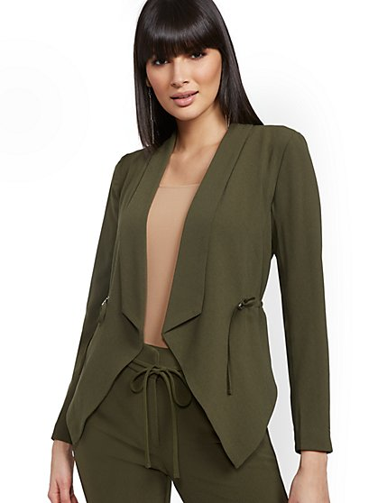 Olive Drawstring-Cord Jacket - 7th Avenue - New York & Company