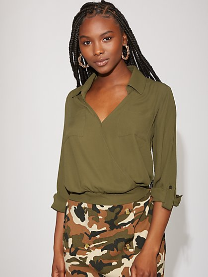 Olive Wrap Blouse - Gabrielle Union Collection - New York & Company
