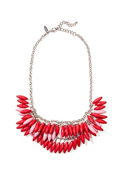 Ombré Beaded Fringe Necklace