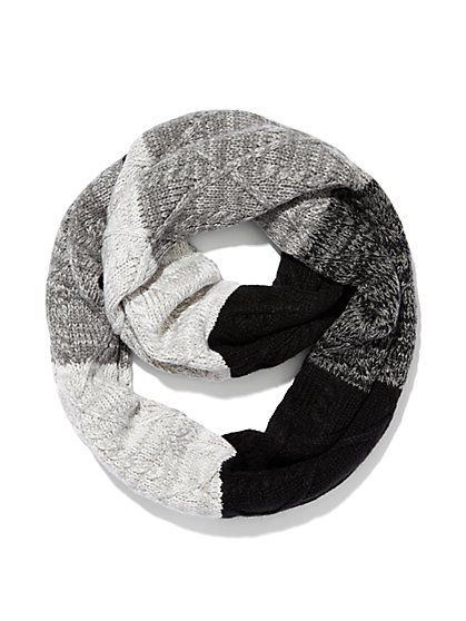 Ombré Cable-Knit Infinity Scarf  - New York & Company