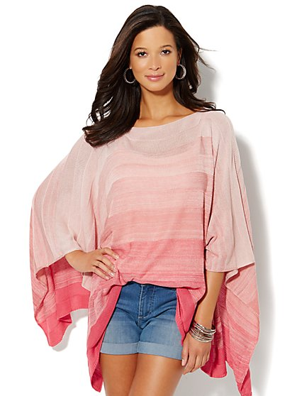 Ombré Stripe Poncho  - New York & Company