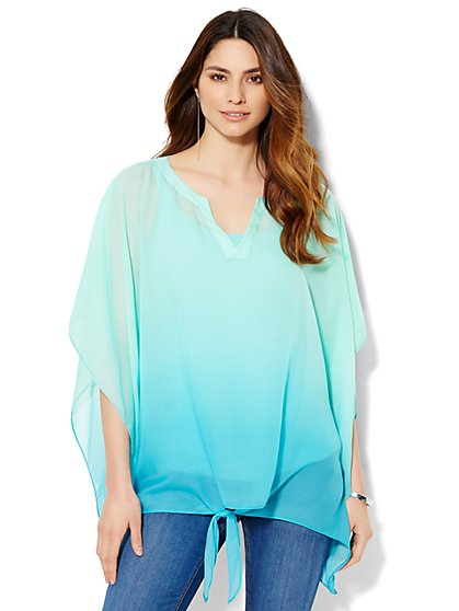 Ombré Tie-Front Poncho  - New York & Company