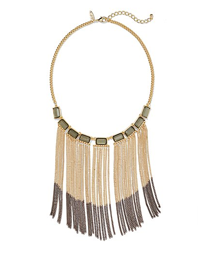 Ombre Chain-Link Fringe Bib Necklace  - New York & Company