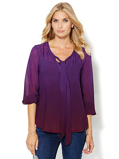 Ombre Peasant Blouse  - New York & Company