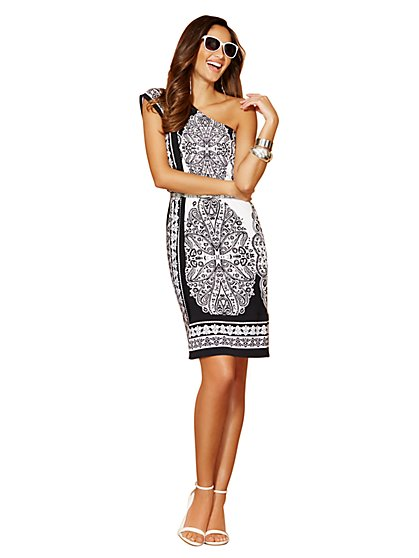 One-Shoulder Paisley Dress  - New York & Company