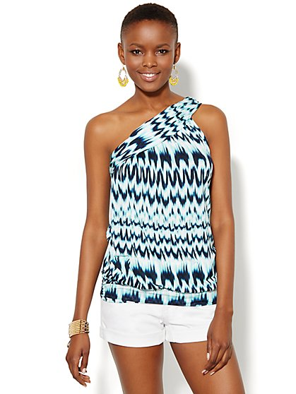 One-Shoulder Top - Abstract Print  - New York & Company
