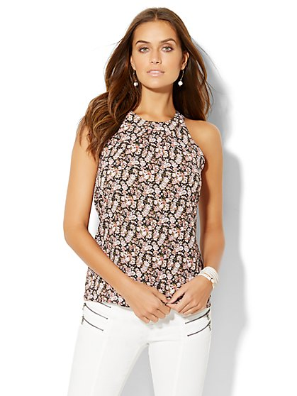 Open-Back Halter Blouse - Floral Print - New York & Company