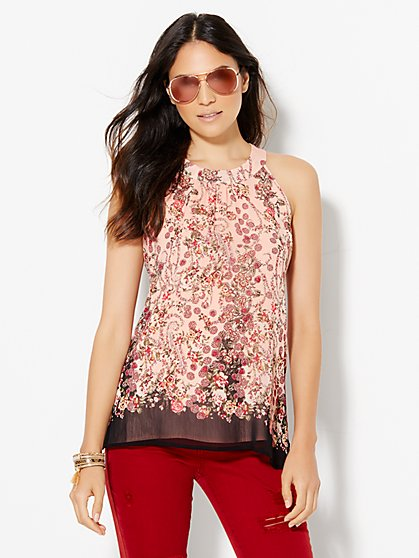 Open-Back Halter Blouse - Floral  - New York & Company