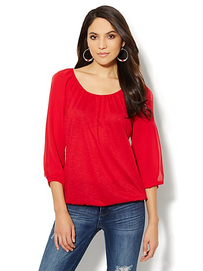 Open Chiffon-Sleeve Raglan Top  - New York & Company