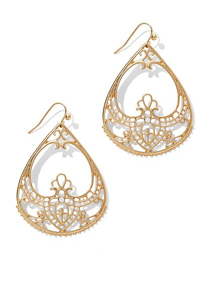 Open Filigree Teardrop Earring  - New York & Company