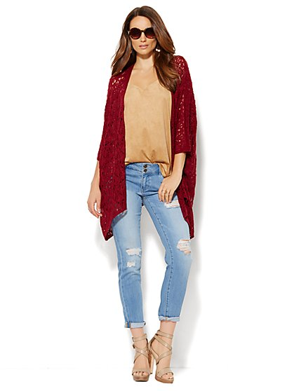 Open-Front Crochet Wrap  - New York & Company