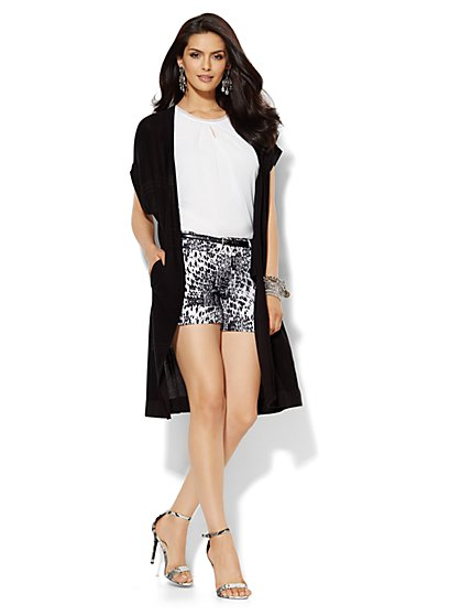 Open-Front Knit-Stitch Duster  - New York & Company