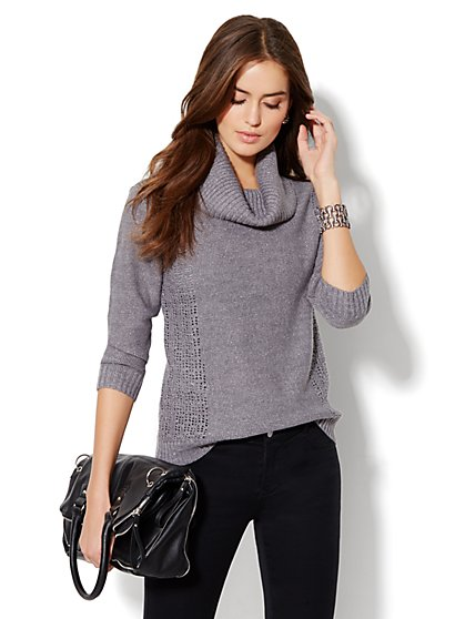 Open-Knit Cowl Neck Sweater  - New York & Company