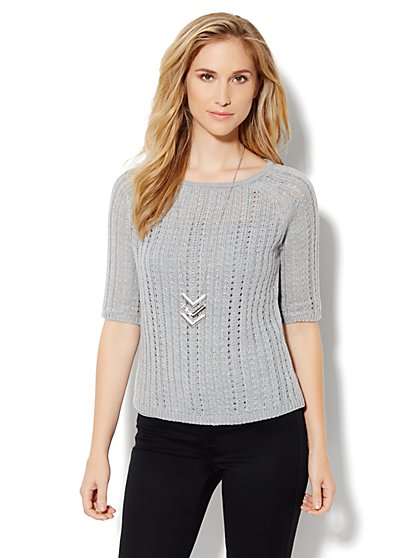 Open-Knit Crop Sweater - Lurex