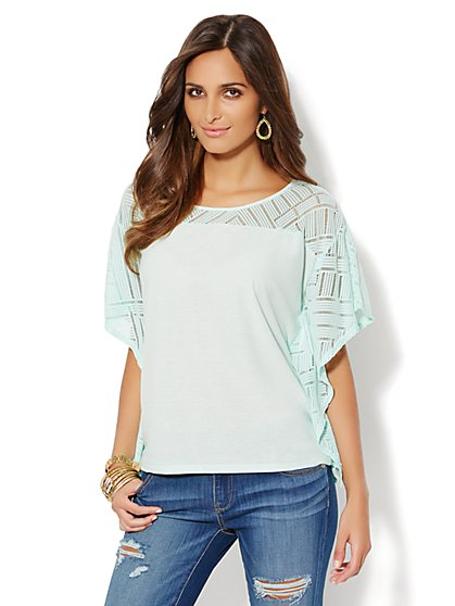 Open-Knit Flutter-Sleeve Top  - New York & Company