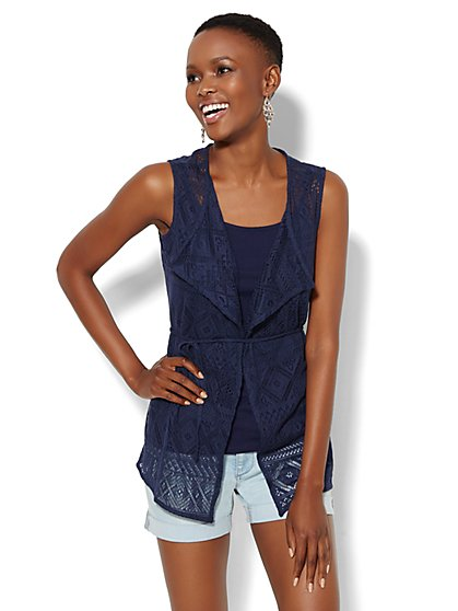 Open-Knit Open-Front Vest  - New York & Company