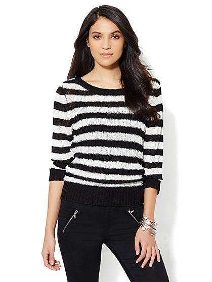 Open-Knit Striped Sweater - Black & White