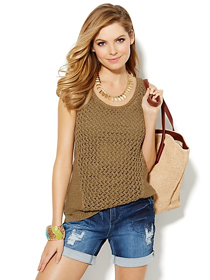 Open-Knit Tank Top  - New York & Company