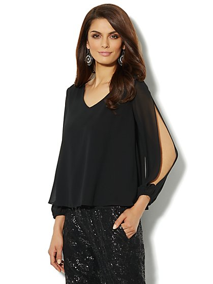 Open-Sleeve Silky Blouse - New York & Company