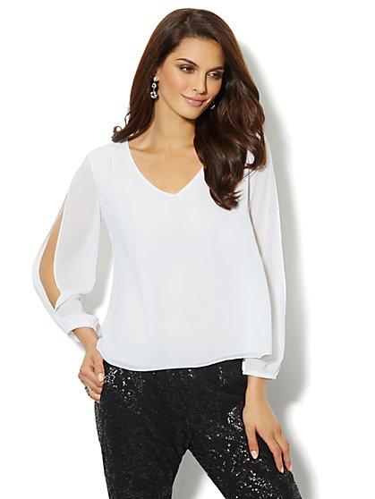 Open-Sleeve Silky Blouse - New York & Company