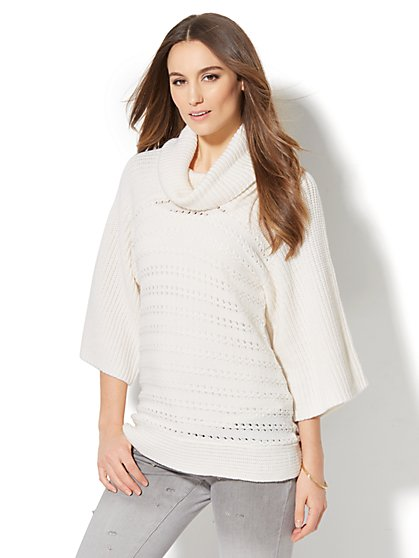 Open-Stitch Cowl-Neck Sweater - New York & Company
