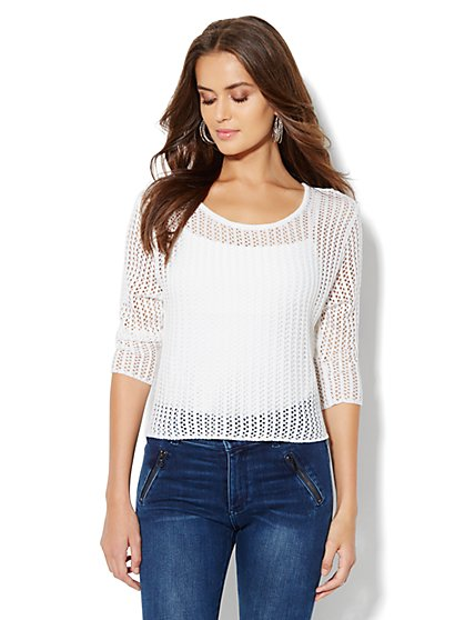 Open-Stitch Crop Sweater - New York & Company