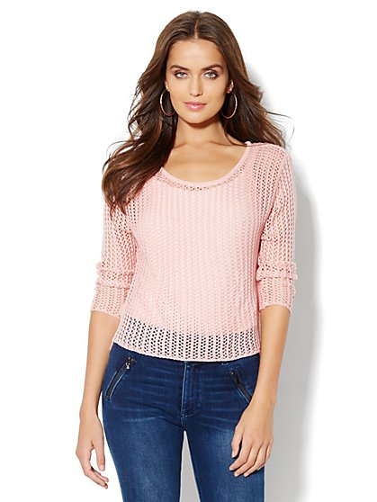 Open-Stitch Crop Sweater