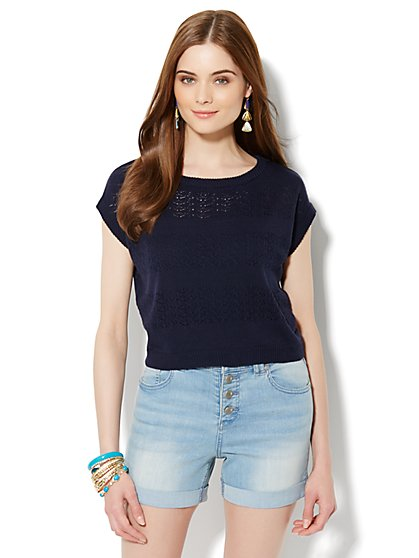 Open-Stitch Cropped Sweater