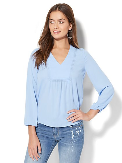 Open-Stitch Detail Blouse - New York & Company