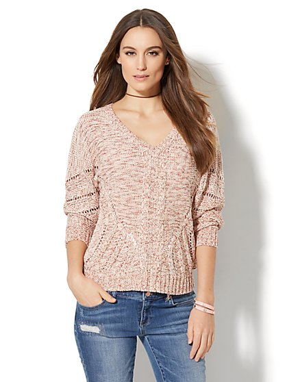 Open-Stitch Dolman Sweater - New York & Company