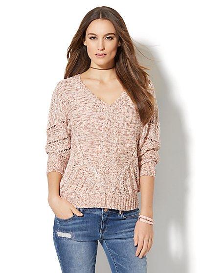 Open-Stitch Dolman Sweater - New York & Company